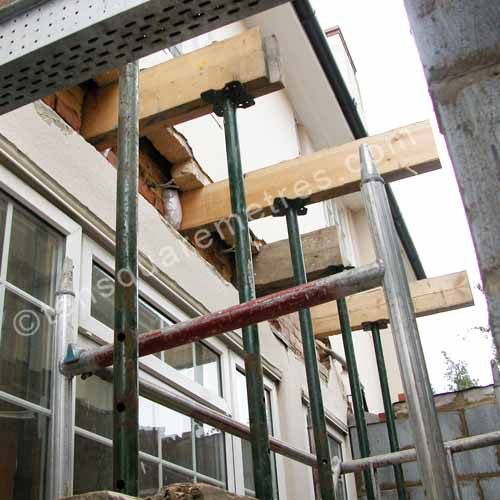 Needle Beam Shoring For Wall : Self build house extension structure acro props
